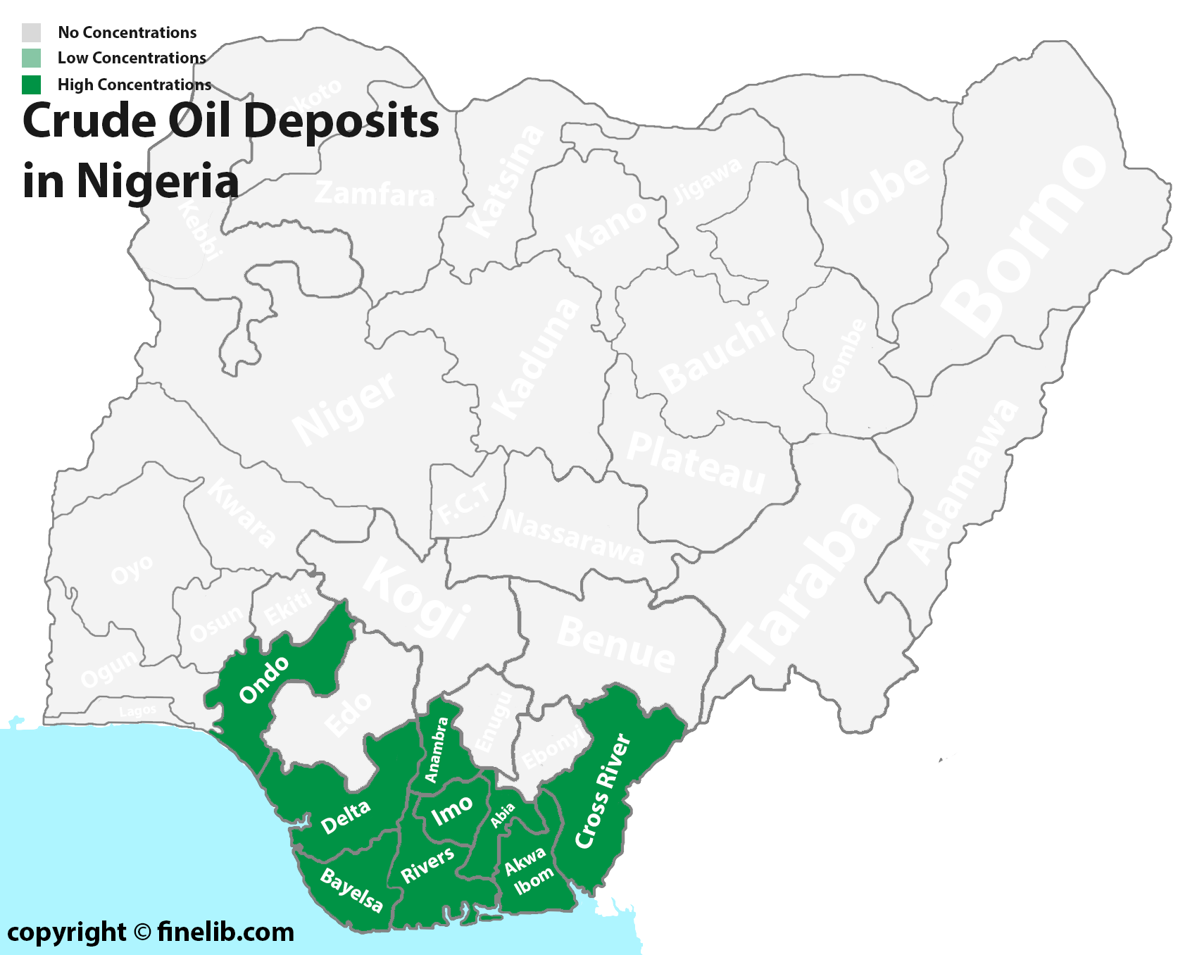 Crude oil natural mineral deposits in Nigeria