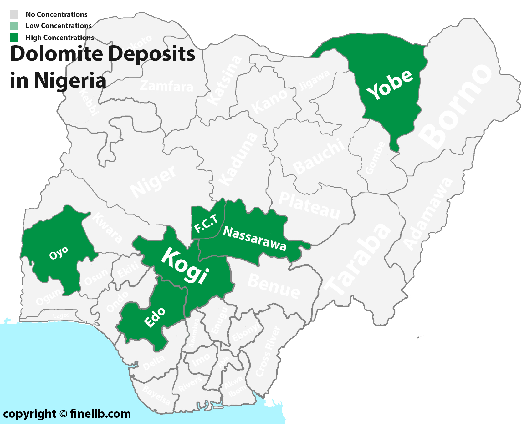 Dolomite mineral resources deposits in Nigeria