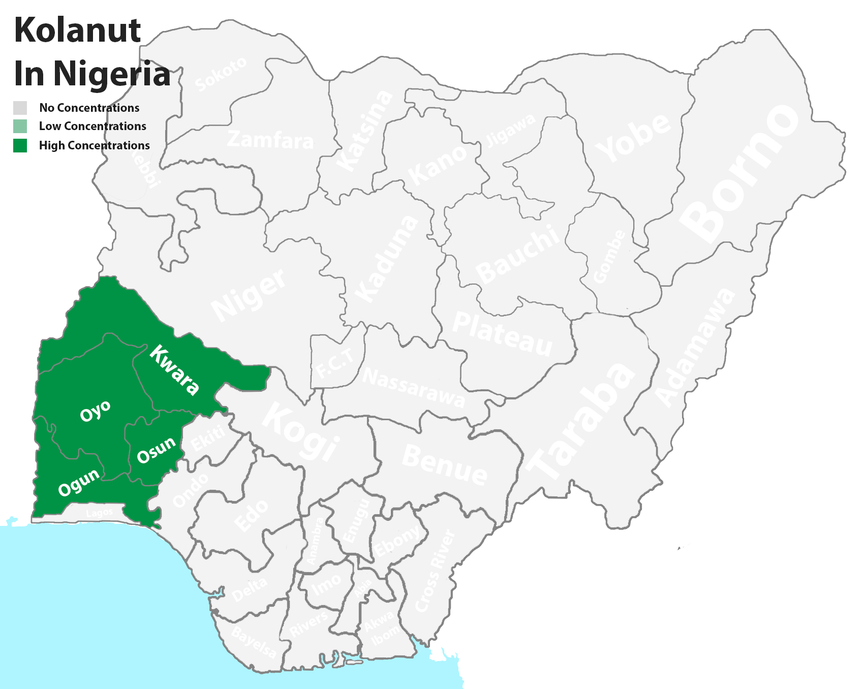 Kolanut producing states in Nigeria
