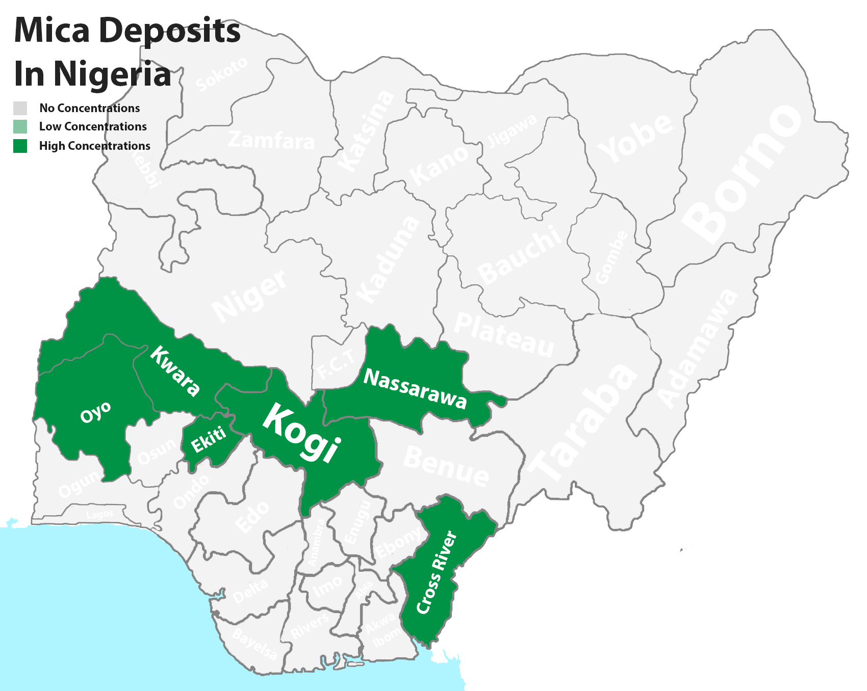 Mica mineral deposits in Nigeria