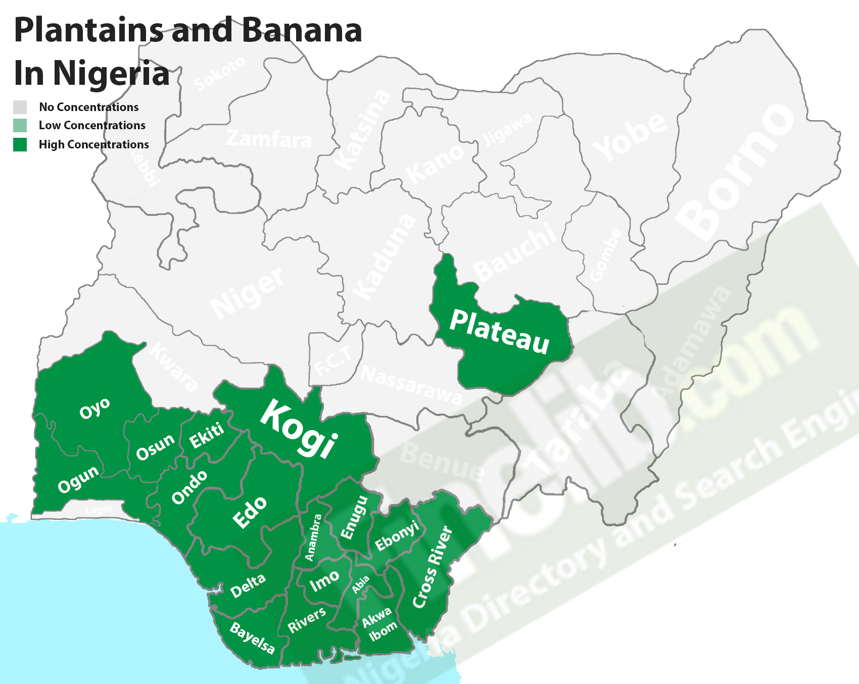 Plantain and banana cash crop producing states in Nigeria