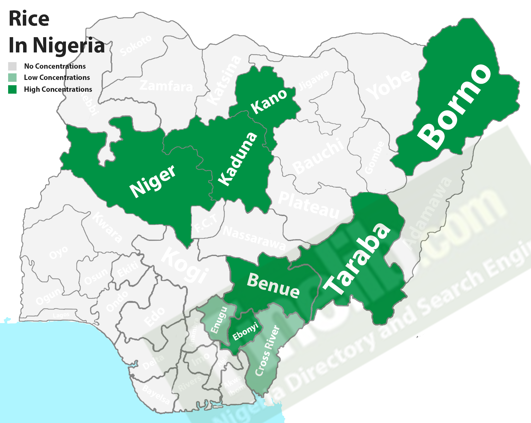 Rice producing states in Nigeria