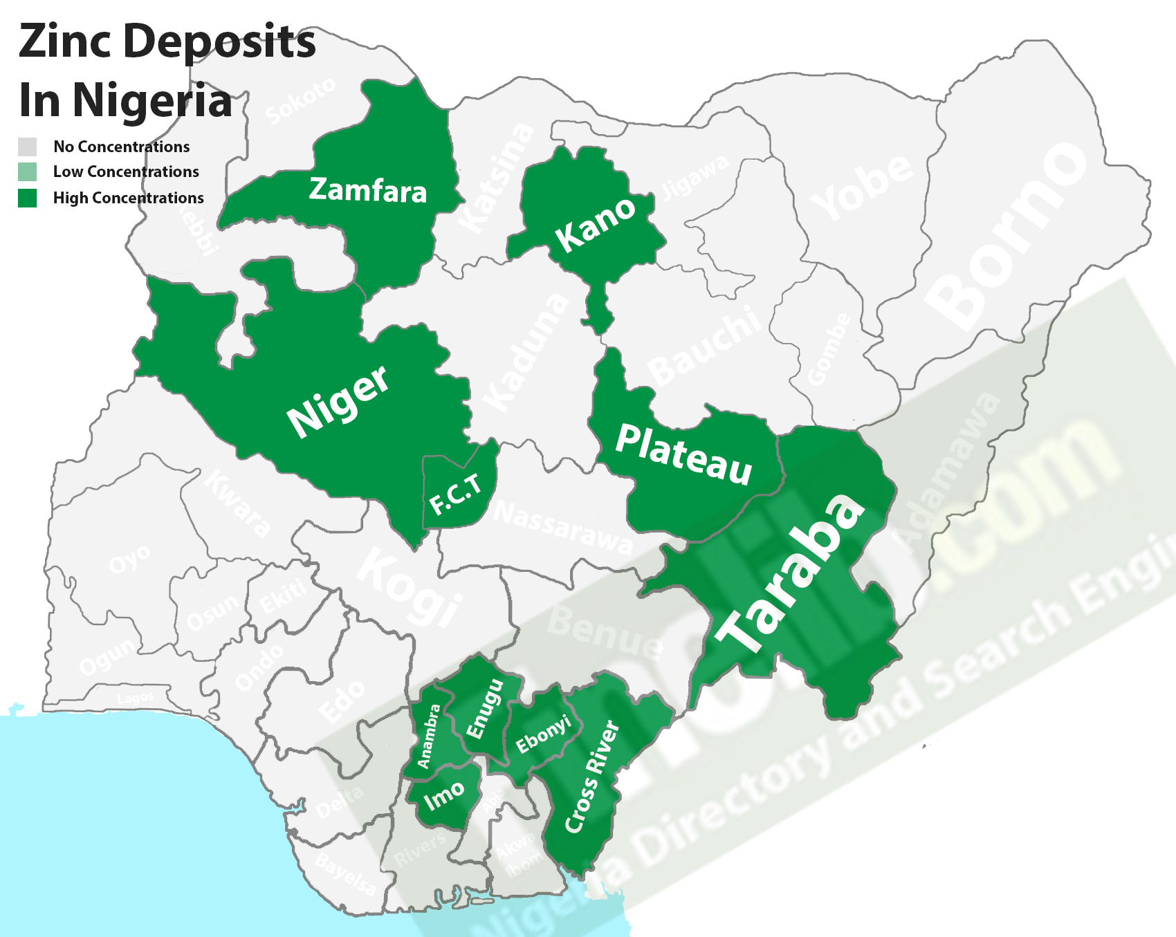 Zinc mineral deposits in Nigeria