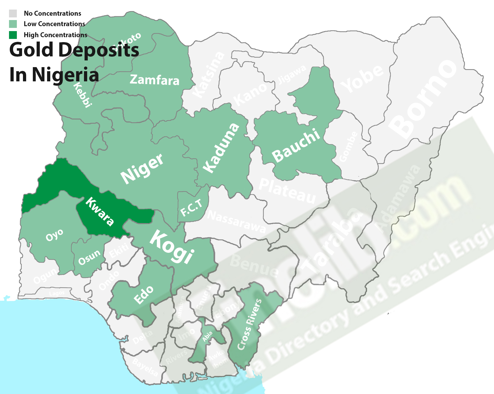 Gold mineral resources in Nigeria