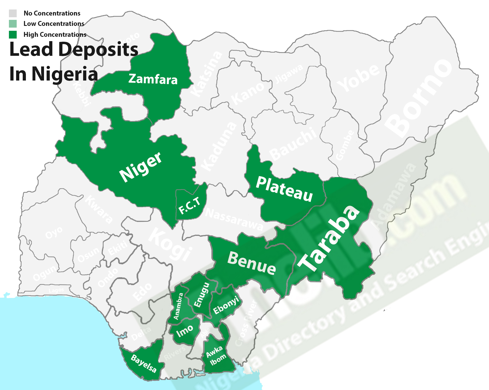 Lead (Pb) deposits in Nigeria